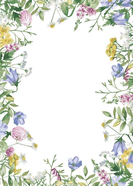 Rama Kwiatów łąkowych Premium Wektorów