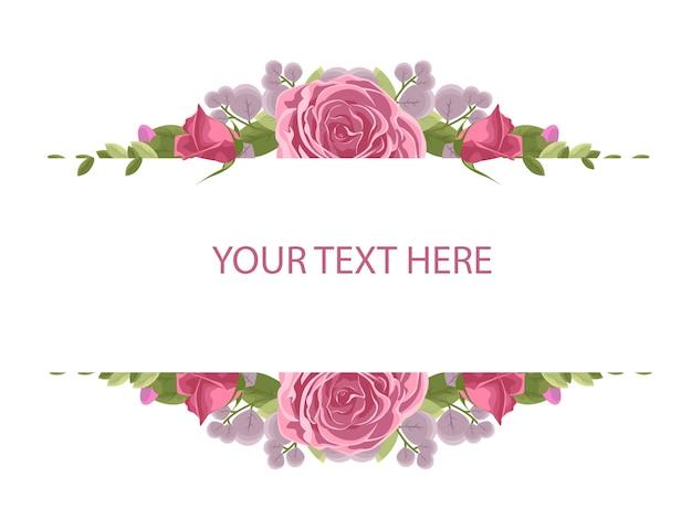 Rama Kwiatowa Z Czerwoną Różą Premium Wektorów