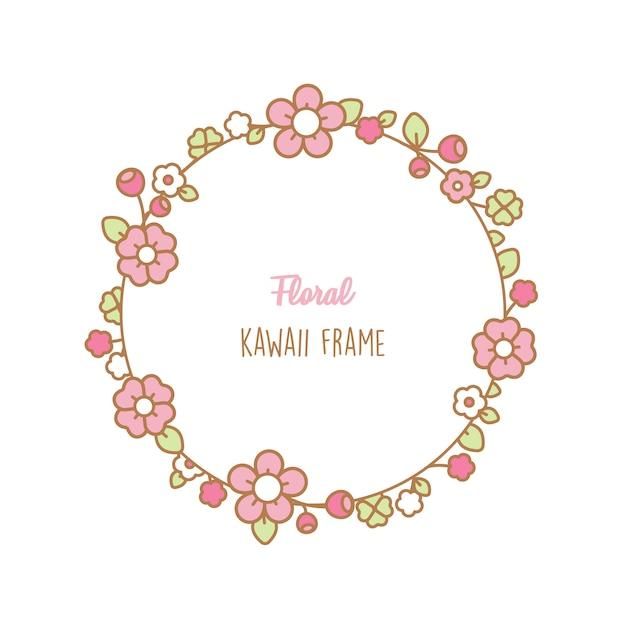 Rama kwiaty kawaii Premium Wektorów