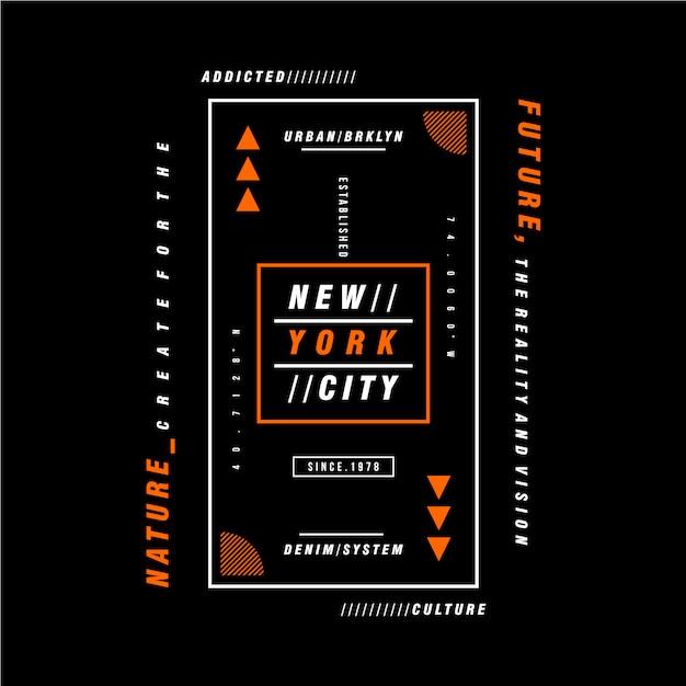Rama Tekstowa Nowy Jork Projekt Graficzny Premium Wektorów