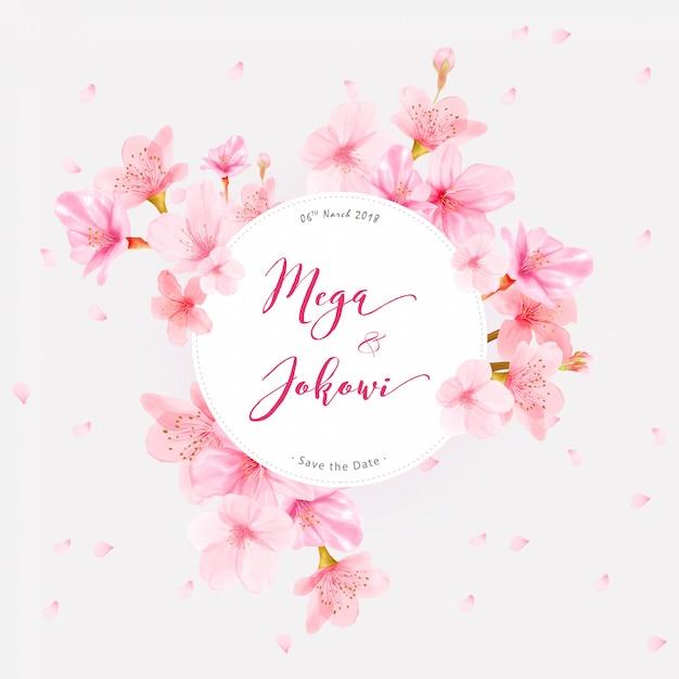 Rama tło wiśni kwiat z ręcznie rysowane kwiaty Premium Wektorów