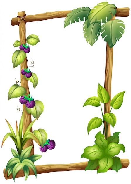 Rama wykonana z drewna z roślinami winorośli Darmowych Wektorów