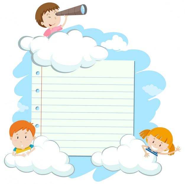 Rama z szczęśliwymi dzieciakami w niebie Premium Wektorów