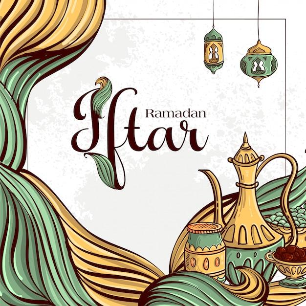 Ramadan Iftar Party Kartkę Z życzeniami Z Ręcznie Rysowane Daty I Islamskie Jedzenie Na Białym Tle Grunge. Darmowych Wektorów