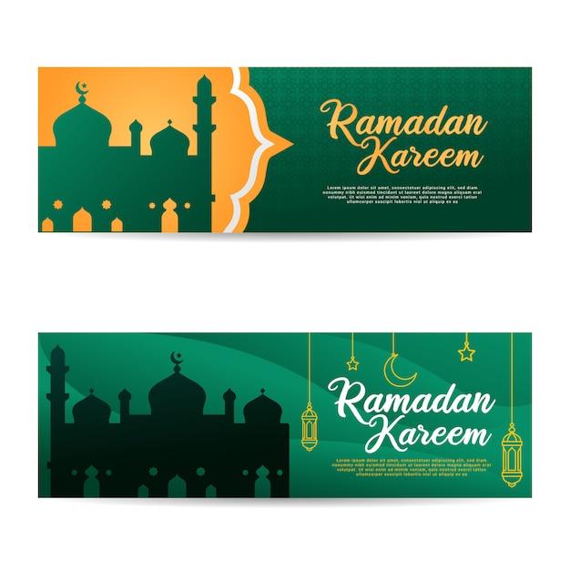 Ramadan Kareem Banner Set Islamski Muzułmański Eid Mubarak Premium Wektorów