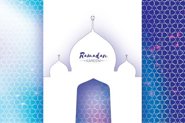 Ramadan Kareem Greeting Card. Meczet Wycięty Z Papieru Premium Wektorów