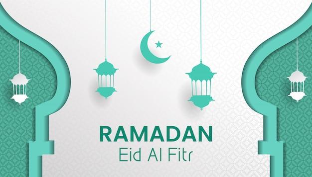Ramadan Kareem I Eid Al Fitr Tło Papieru Lub Stylu Cięcia Papieru Premium Wektorów