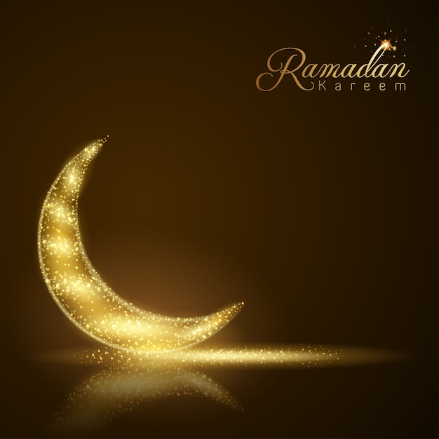 Ramadan Kareem Islamic Powitania łuna Gwiazdy I Półksiężyc Premium Wektorów