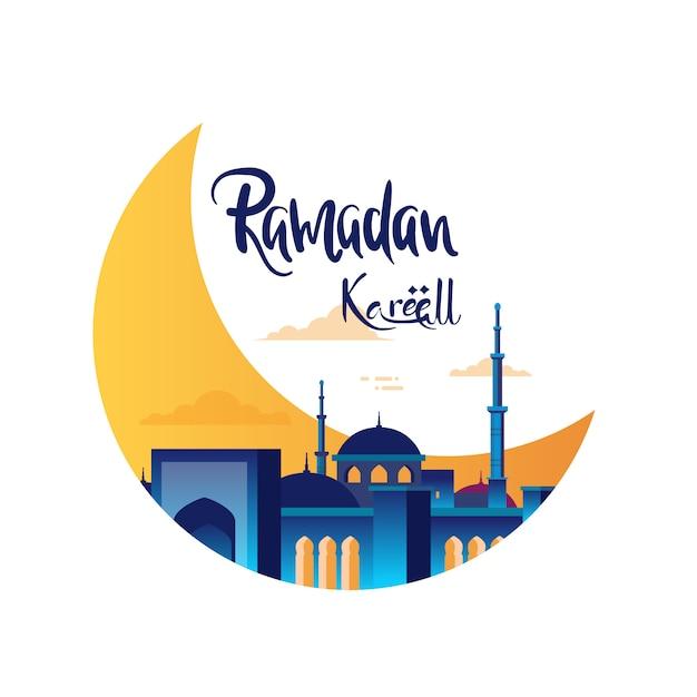 Ramadan Kareem Koncepcja Z Meczetu Premium Wektorów