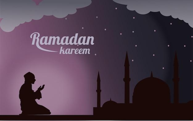 Ramadan Kareem Lub Eid Mubarak Pozdrowienie Tła Islamskiego Premium Wektorów