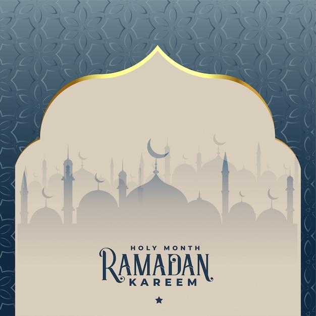 Ramadan kareem piękny islamski meczetowy tło Darmowych Wektorów