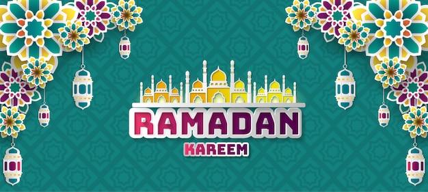 Ramadan Kareem Pozdrowienia Tła. Premium Wektorów