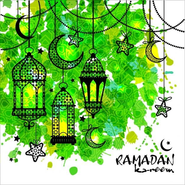 Ramadan Kareem Tła Na Tekstury Akwarela Darmowych Wektorów