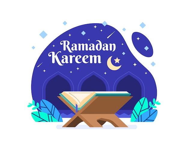 Ramadan Kareem Tło Z Koranu Ilustracji Premium Wektorów