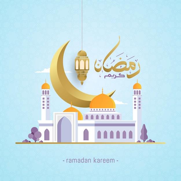 Ramadan kareem z arabską kaligrafią i meczetem Premium Wektorów