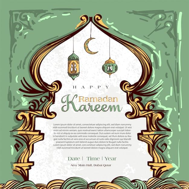 Ramadan Kareem Z Ręcznie Rysowane Ornament Islamski Ilustracja Na Białym Tle Grunge Darmowych Wektorów