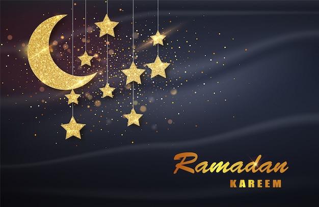 Ramadan Kareem. Złoty Księżyc I Luksusowe Elementy Islamskie Tło Premium Wektorów