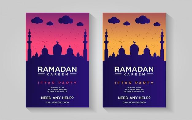 Ramadan Kolorowy Plakat Szablon Premium Wektorów