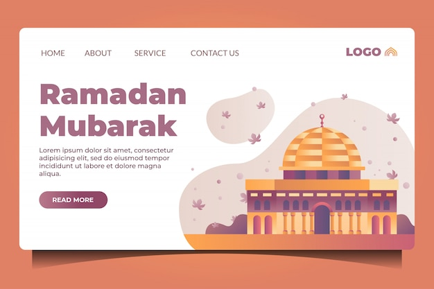 Ramadan Mubarak Landing Page With Mosque Premium Wektorów
