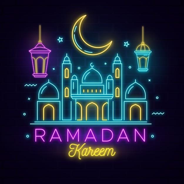 Ramadan Napis Neon Darmowych Wektorów