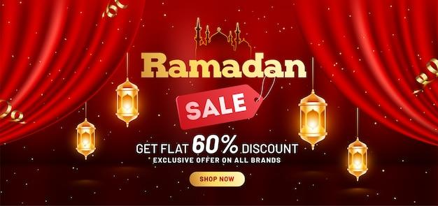 Ramadan Sprzedaż Nagłówka Lub Szablonu Bannera Z Ofertą Rabatową 60% Premium Wektorów