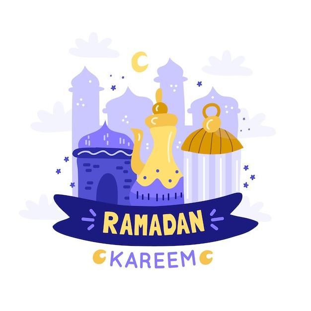 Ramadan Z Księżycem Premium Wektorów