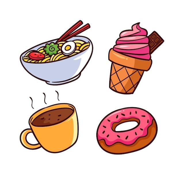 Ramen I Pyszne Słodycze Zapewniają Komfort Jedzenia Darmowych Wektorów