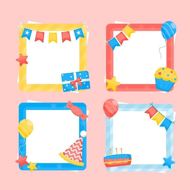 Ramka Kolaż Urodziny Kolorowy Projekt Płaski Darmowych Wektorów