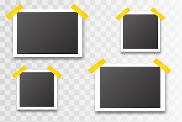 Ramka Na Zdjęcia Na Białym Tle. Ilustracji Wektorowych Premium Wektorów
