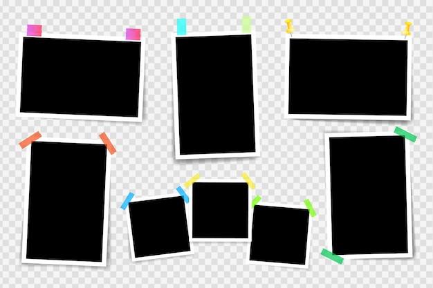 Ramka Na Zdjęcia Na Przezroczystym Tle. Układ Ramek Do Zdjęć Na Taśmie Klejącej. Projekt Zdjęcia Szablonu. Premium Wektorów