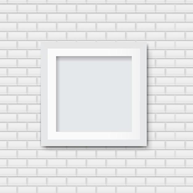 Ramka Na Zdjęcia Z Białym Tle Cegły Premium Wektorów