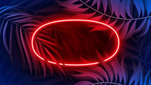 Ramka Neonowa W Kolorze Fluorescencyjnym, Tropikalna Premium Wektorów