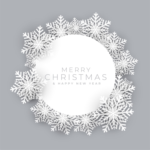 Ramka Płatki śniegu Na Tło Wesołych świąt Bożego Narodzenia Darmowych Wektorów
