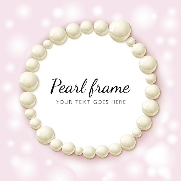 Ramka z koralików perłowych Premium Wektorów