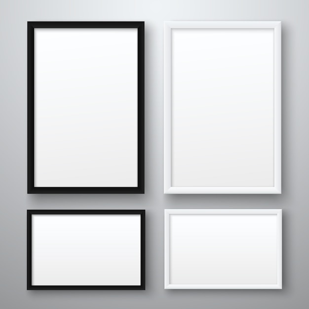 Ramki białe i czarne realistyczne puste zdjęcia na szarym tle Premium Wektorów