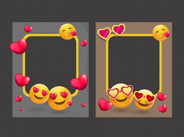 Ramki na zdjęcia ozdobione różnymi emoji i kształtami serca. Premium Wektorów