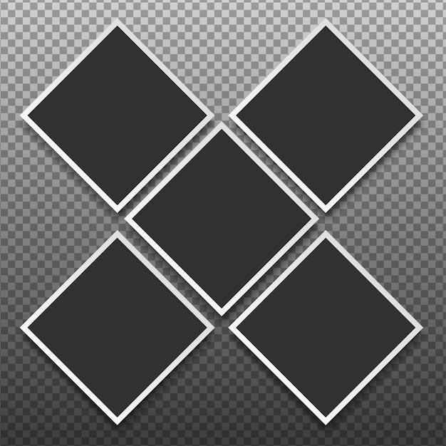 Ramki Na Zdjęcia Ustawione Na Przezroczystym Tle Premium Wektorów