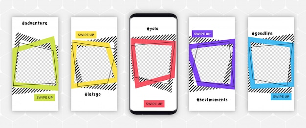 Ramki szablonów historii instagrama - edytowalny projekt okładki do zdjęć Premium Wektorów