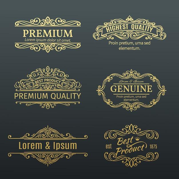 Ramki Vintage Złote S Etykiety. Premium Wektorów