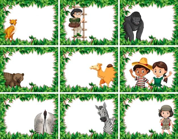 Ramki zwierzęce z gepardem, małpą, wielbłądem, zebrą z ramą urlopową Darmowych Wektorów