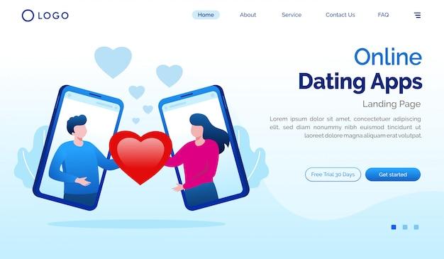 Randki Internetowe Aplikacje Strony Docelowej Płaski Szablon Witryny Premium Wektorów