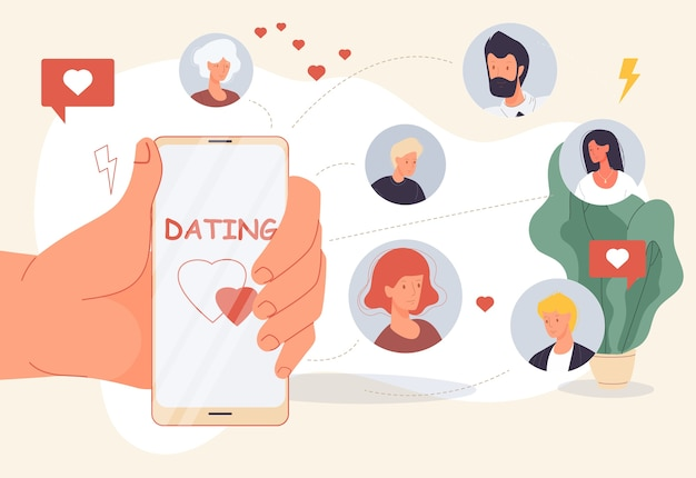 Randki Online. Aplikacja Mobilna Do Poszukiwania Miłości Tworzenia Wirtualnego Związku. Premium Wektorów