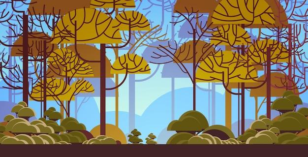 Rano Zielony Drzewo Las Piękna Przyroda Krajobraz Płaskie Poziome Premium Wektorów