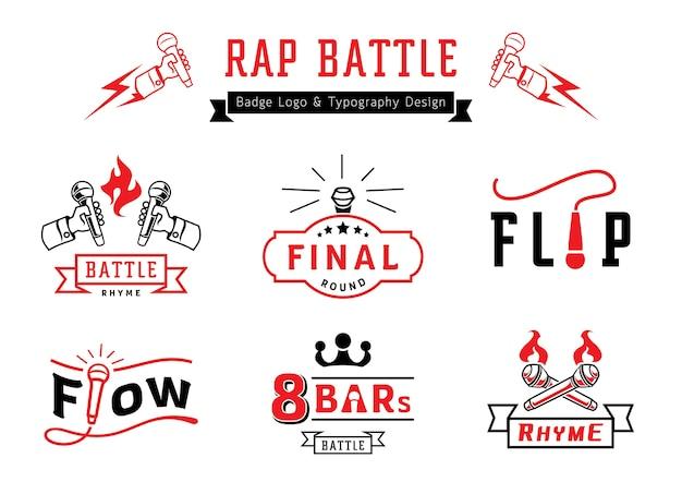 Rap Logo Bitwy Znaczek I Projektowanie Typografii Premium Wektorów