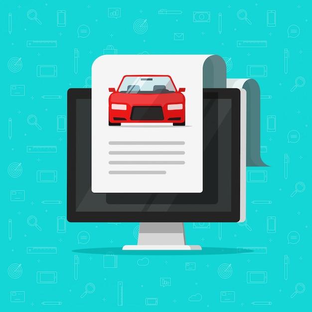 Raport Dokumentu Samochodowego Lub Samochodowego Z Tekstem Na Komputerze Premium Wektorów