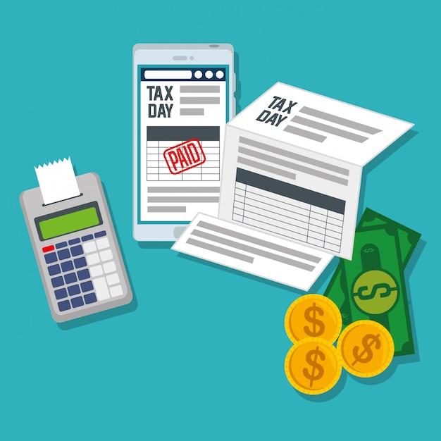Raport podatkowy serwisowy ze smartfonem i datafonem Darmowych Wektorów