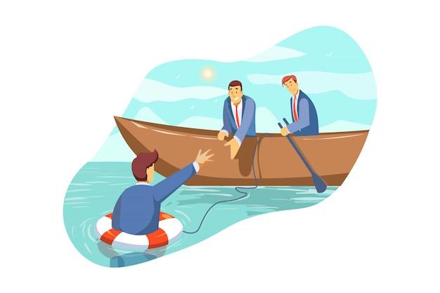 Ratowanie, Kryzys, Wsparcie, Zespół, Partnerstwo, Bankructwo, Koncepcja Biznesowa Premium Wektorów