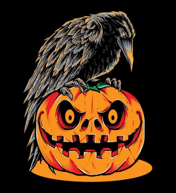 Raven pumpkins Premium Wektorów