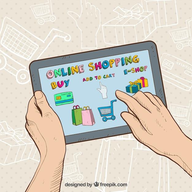 Rę Ce Kupowania Online Z Tabletu Darmowych Wektorów