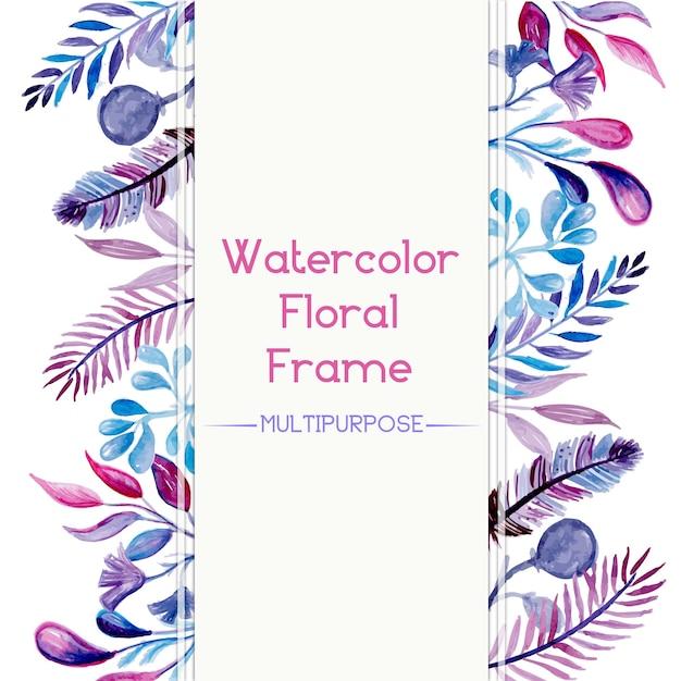 Rę Cznie Rysowane Fioletowy I Niebieski Akwarela Floral Projektu Ramki Darmowych Wektorów